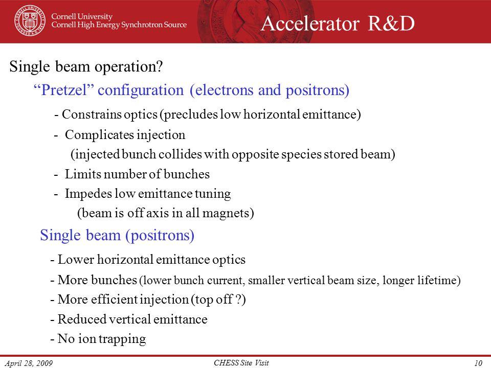 "April 28, 2009 CHESS Site Visit 10 Accelerator R&D Single beam operation? ""Pretzel"" configuration (electrons and positrons) - Constrains optics (precl"