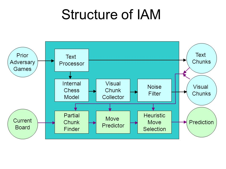 Structure of IAM Noise Filter Move Predictor Prediction Text Chunks Visual Chunks Text Processor Current Board Prior Adversary Games Visual Chunk Collector Internal Chess Model Partial Chunk Finder Heuristic Move Selection