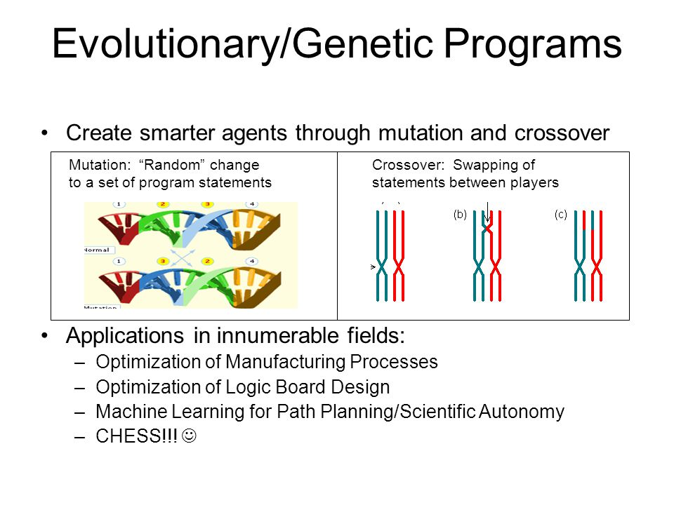 Evolutionary/Genetic Programs Create smarter agents through mutation and crossover Applications in innumerable fields: –Optimization of Manufacturing