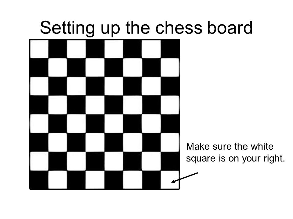 Setting up the chess board Make sure the white square is on your right.