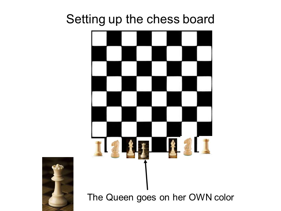 Setting up the chess board The Queen goes on her OWN color