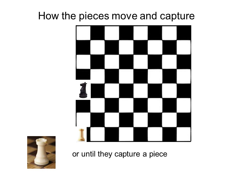 How the pieces move and capture or until they capture a piece