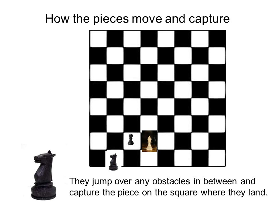 How the pieces move and capture They jump over any obstacles in between and capture the piece on the square where they land.