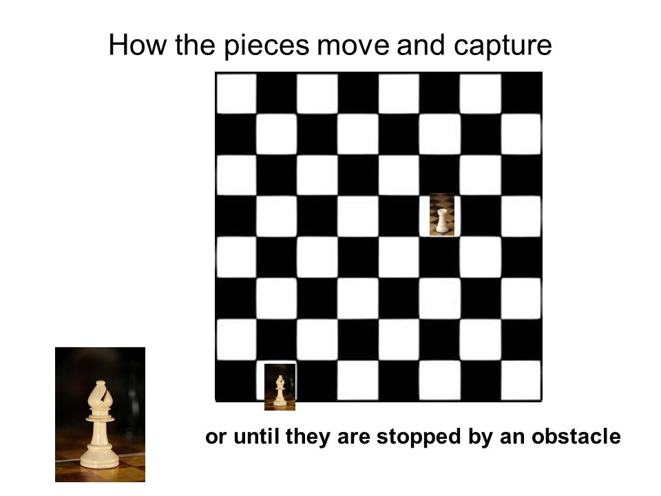 How the pieces move and capture or until they are stopped by an obstacle