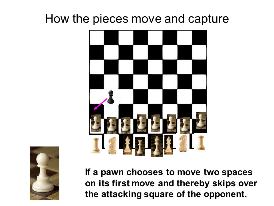 How the pieces move and capture If a pawn chooses to move two spaces on its first move and thereby skips over the attacking square of the opponent.