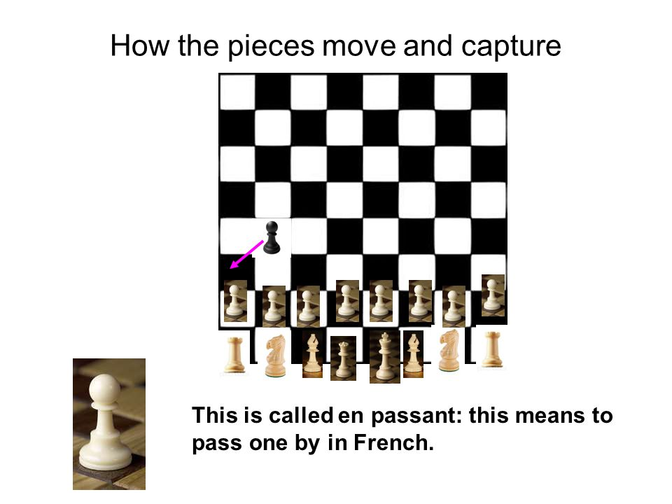 How the pieces move and capture This is called en passant: this means to pass one by in French.