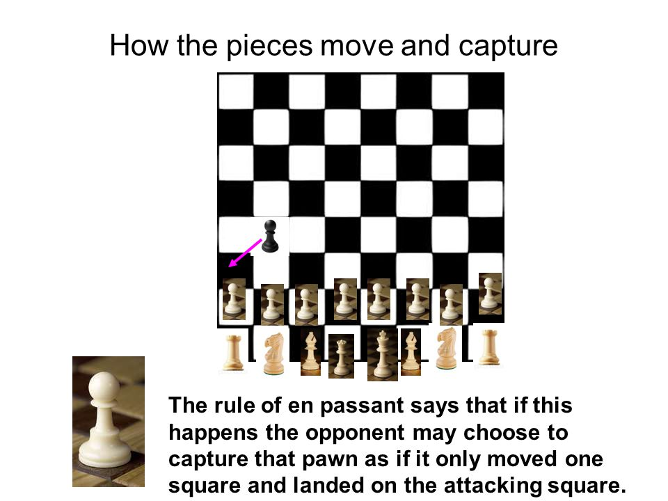 How the pieces move and capture The rule of en passant says that if this happens the opponent may choose to capture that pawn as if it only moved one square and landed on the attacking square.