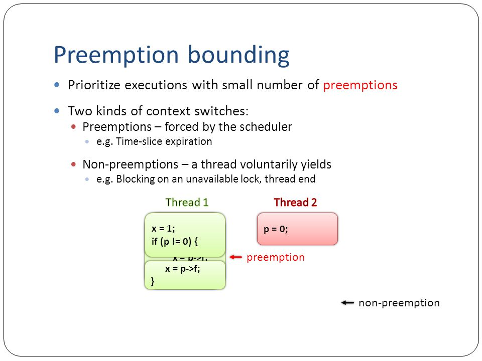 x = 1; if (p != 0) { x = p->f; } x = 1; if (p != 0) { x = p->f; } Preemption bounding Prioritize executions with small number of preemptions Two kinds of context switches: Preemptions – forced by the scheduler e.g.