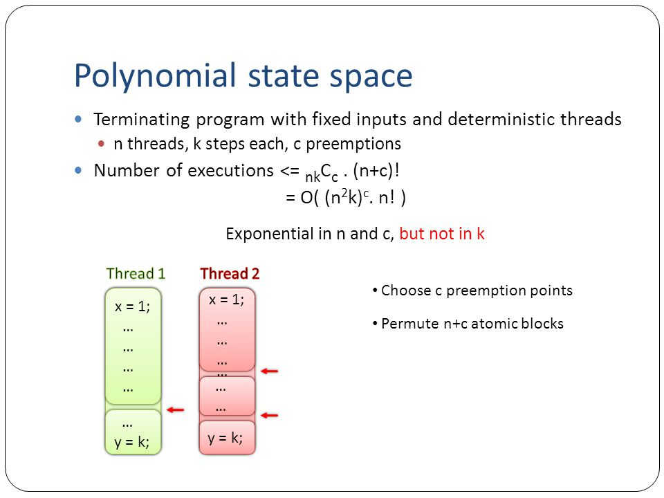 Polynomial state space Terminating program with fixed inputs and deterministic threads n threads, k steps each, c preemptions Number of executions <= nk C c.