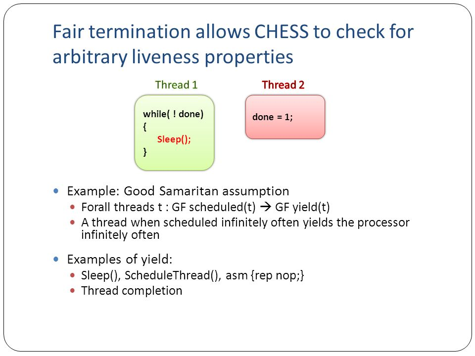Fair termination allows CHESS to check for arbitrary liveness properties Example: Good Samaritan assumption Forall threads t : GF scheduled(t)  GF yield(t) A thread when scheduled infinitely often yields the processor infinitely often Examples of yield: Sleep(), ScheduleThread(), asm {rep nop;} Thread completion while( .
