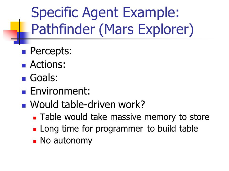 Specific Agent Example: Pathfinder (Mars Explorer) Percepts: Actions: Goals: Environment: Would table-driven work? Table would take massive memory to