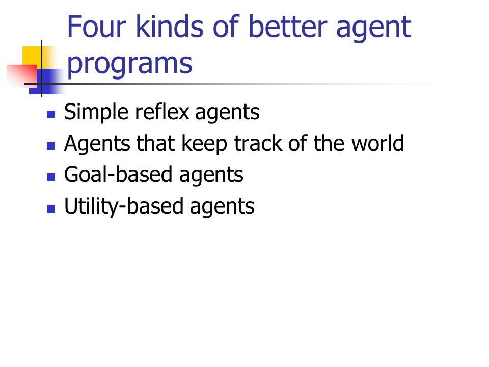 Four kinds of better agent programs Simple reflex agents Agents that keep track of the world Goal-based agents Utility-based agents