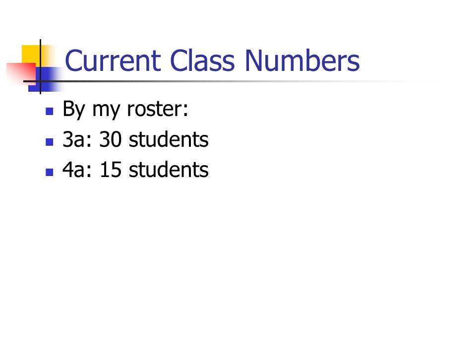 Current Class Numbers By my roster: 3a: 30 students 4a: 15 students