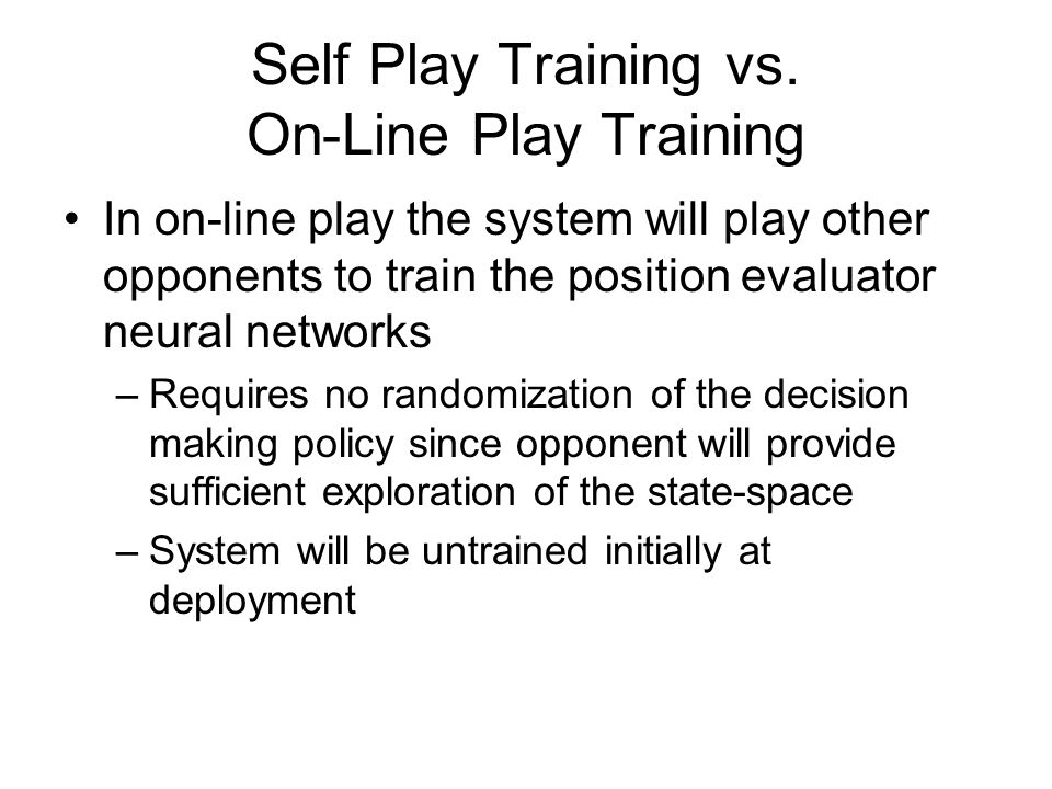 Self Play Training vs.