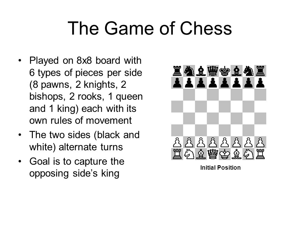 The Game of Chess Played on 8x8 board with 6 types of pieces per side (8 pawns, 2 knights, 2 bishops, 2 rooks, 1 queen and 1 king) each with its own rules of movement The two sides (black and white) alternate turns Goal is to capture the opposing side's king Initial Position