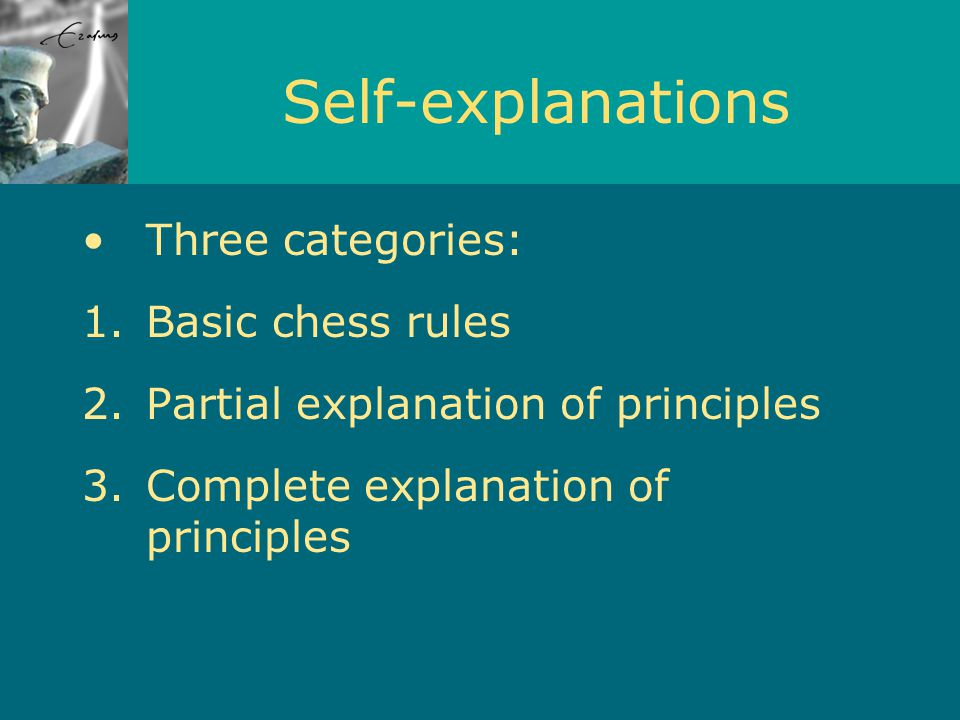 Self-explanations Three categories: 1.Basic chess rules 2.Partial explanation of principles 3.Complete explanation of principles