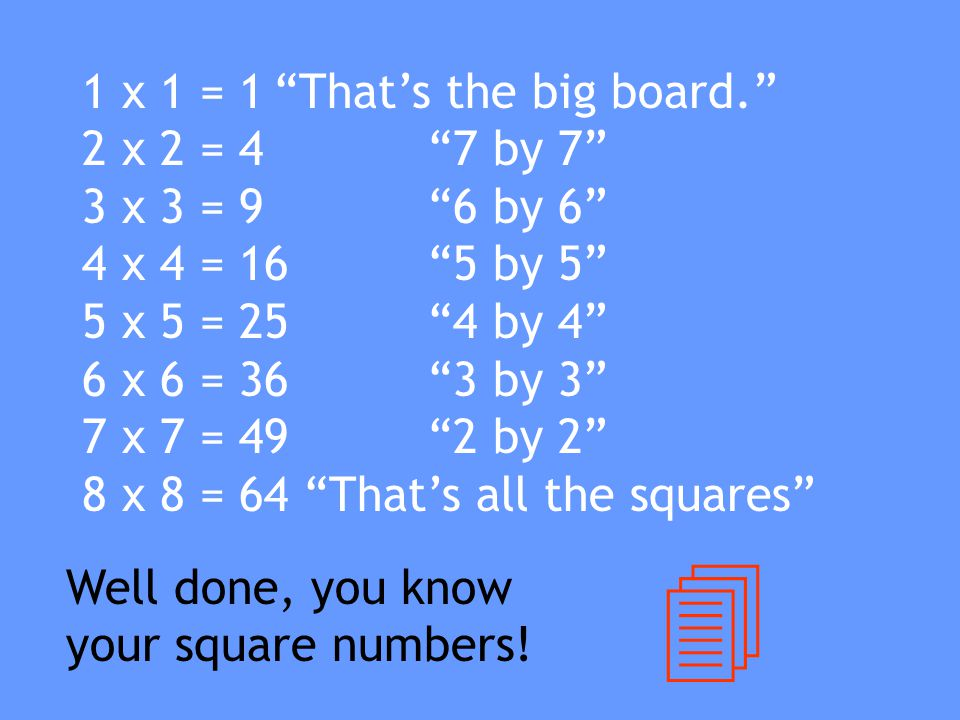 """So the tables continued... Red: """"There are 16, 5 by 5 squares."""" Purple: """"There are 9, 6 by 6 squares."""" White: """"There are 4, 7 by 7 squares."""""""