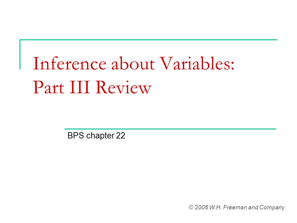 Inference about Variables: Part III Review BPS chapter 22 © 2006 W.H. Freeman and Company