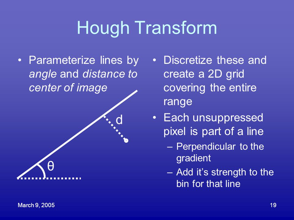 March 9, 200519 Hough Transform Parameterize lines by angle and distance to center of image Discretize these and create a 2D grid covering the entire