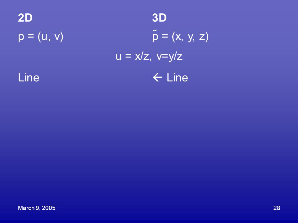 March 9, 200528 2D3D p = (u, v)p = (x, y, z) u = x/z, v=y/z Line  Line