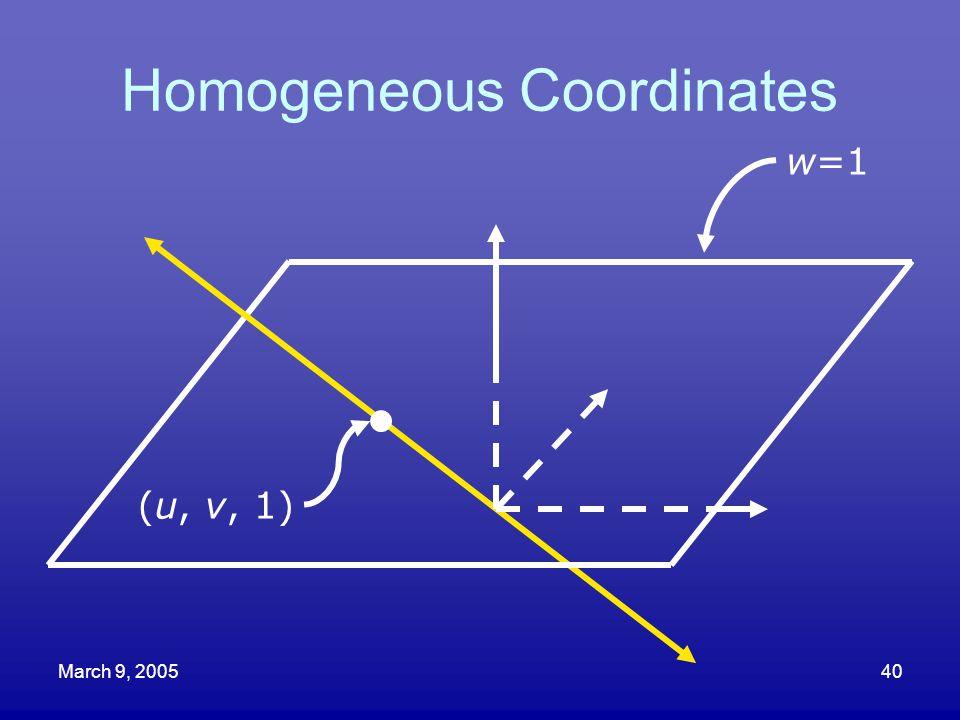 March 9, 200540 Homogeneous Coordinates (u, v, 1) w=1