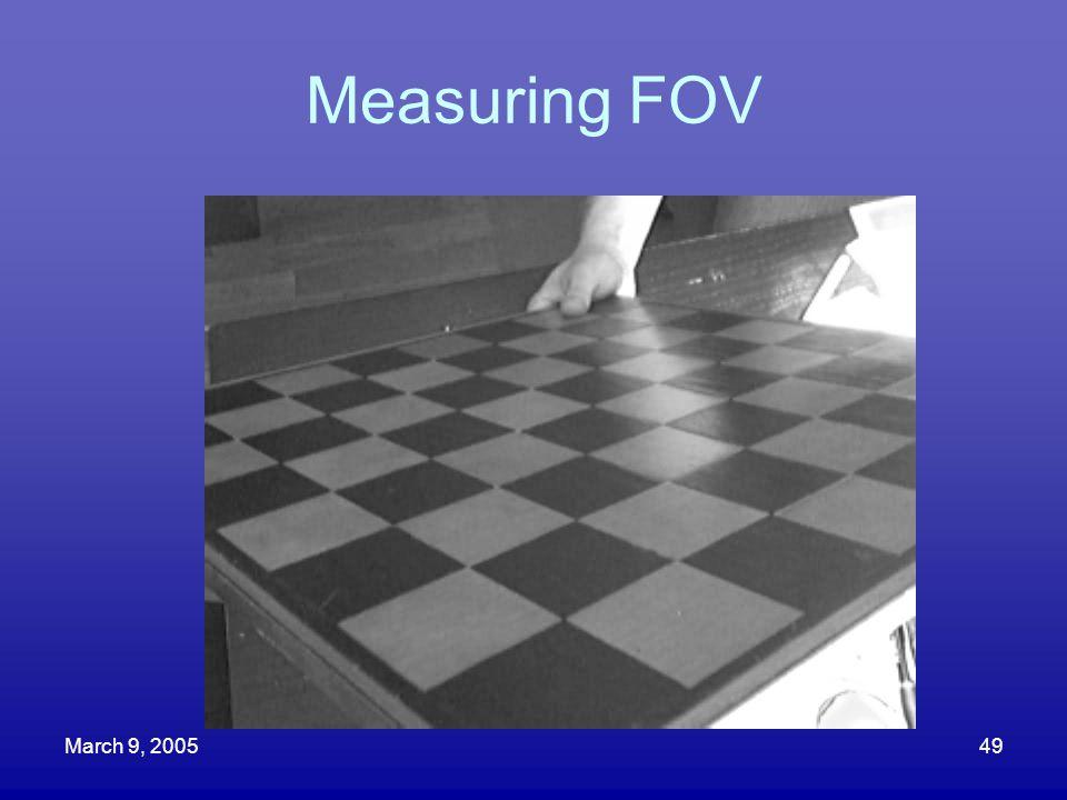March 9, 200549 Measuring FOV