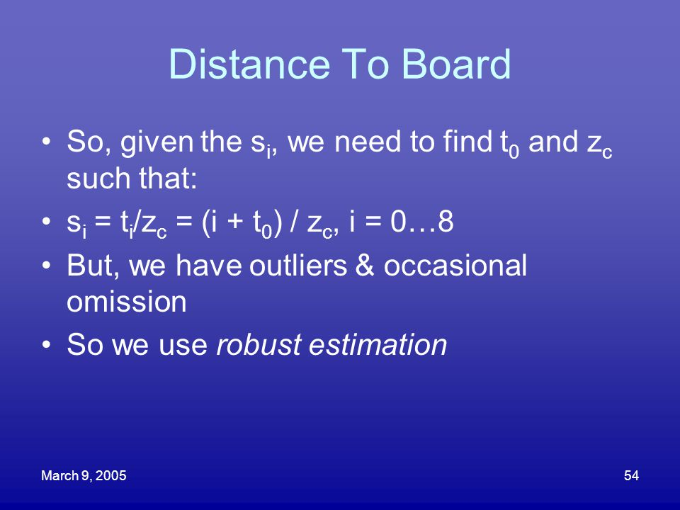 March 9, 200554 Distance To Board So, given the s i, we need to find t 0 and z c such that: s i = t i /z c = (i + t 0 ) / z c, i = 0…8 But, we have ou