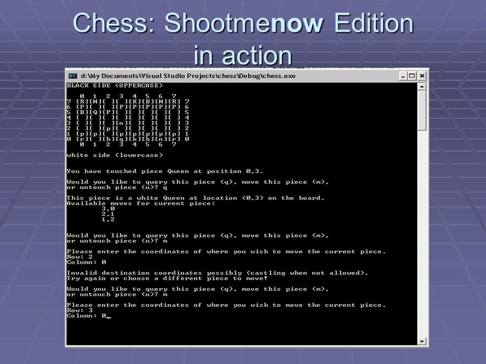 Chess: Shootmenow Edition in action