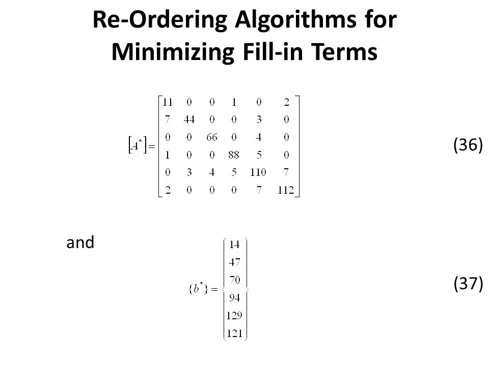 and (36) (37) Re-Ordering Algorithms for Minimizing Fill-in Terms
