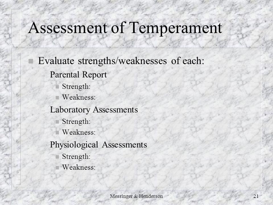 Messinger & Henderson21 Assessment of Temperament n Evaluate strengths/weaknesses of each: – Parental Report n Strength: n Weakness: – Laboratory Assessments n Strength: n Weakness: – Physiological Assessments n Strength: n Weakness: