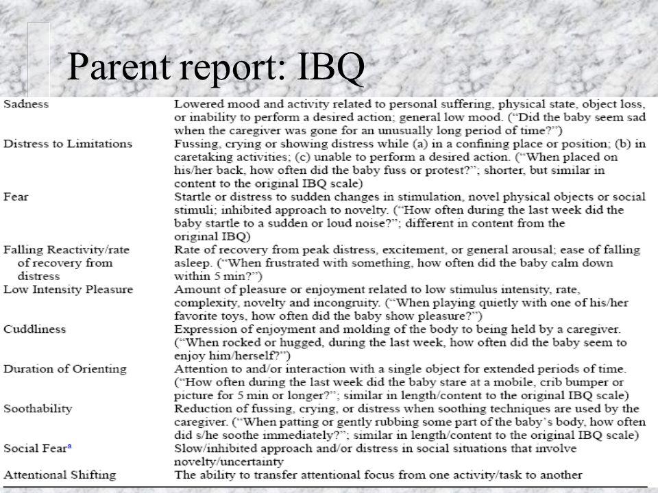Messinger & Henderson27 Parent report: IBQ
