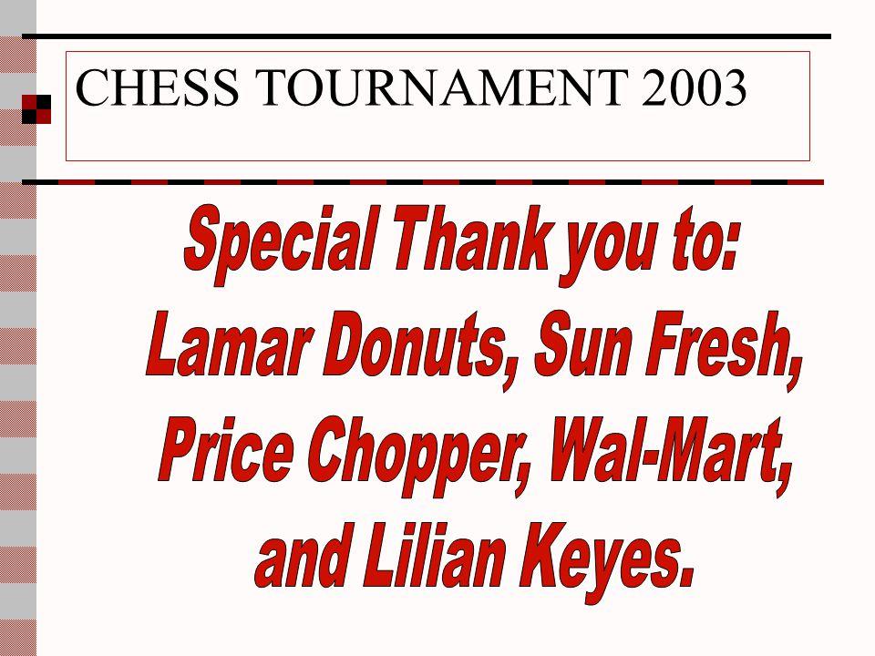 CHESS TOURNAMENT 2003 CONTESTANTS Jahmal Roofe Morris Sanders Jesse Schaaf Terrence Scott Nicholle Stephens Dallas Stufflebean Phillip Tinnin Tarrel T
