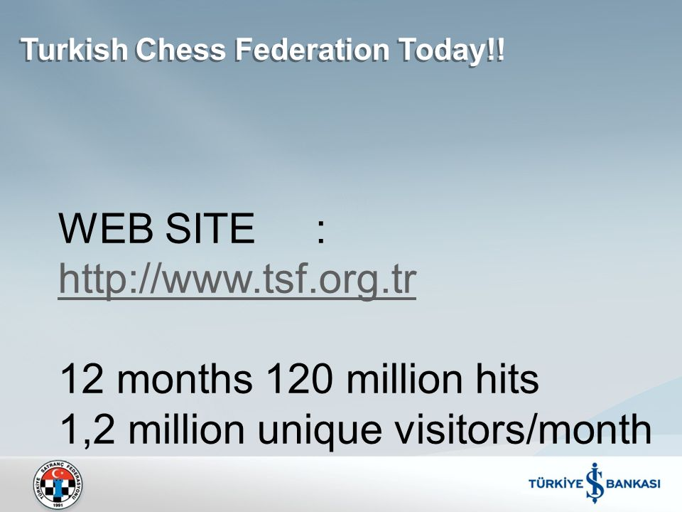Turkish Chess Federation Today!! WEB SITE : http://www.tsf.org.tr 12 months 120 million hits 1,2 million unique visitors/month http://www.tsf.org.tr