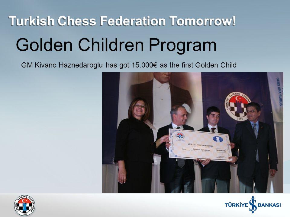 Golden Children Program GM Kivanc Haznedaroglu has got 15.000€ as the first Golden Child Turkish Chess Federation Tomorrow!