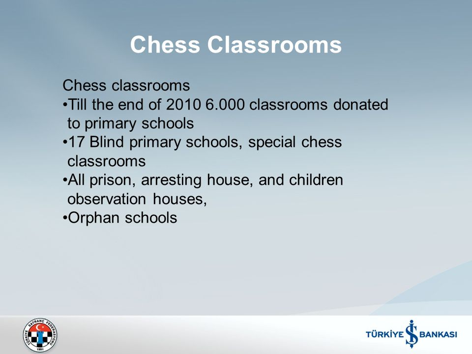 Chess classrooms Till the end of 2010 6.000 classrooms donated to primary schools 17 Blind primary schools, special chess classrooms All prison, arresting house, and children observation houses, Orphan schools Chess Classrooms