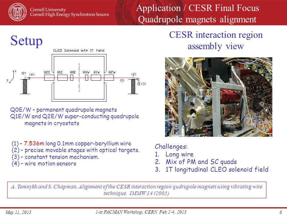 Application / CESR Final Focus Quadrupole magnets alignment May 11, 2015 1-st PACMAN Workshop, CERN Feb 2-4, 2015 7 Wire vertical position at Q0E,W Differential effect dy = - 0.1mm Y = 0.039mm Vertical vibration mode amplitudes Reconstructed horizontal magnetic field, B x (z) Q0W Q0E Q0WQ0E Y = -0.061mm PM quadrupoles survey/alignment we used with 30 vibration modes A.