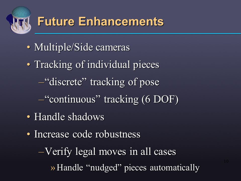10 Future Enhancements Multiple/Side camerasMultiple/Side cameras Tracking of individual piecesTracking of individual pieces – discrete tracking of pose – continuous tracking (6 DOF) Handle shadowsHandle shadows Increase code robustnessIncrease code robustness –Verify legal moves in all cases »Handle nudged pieces automatically