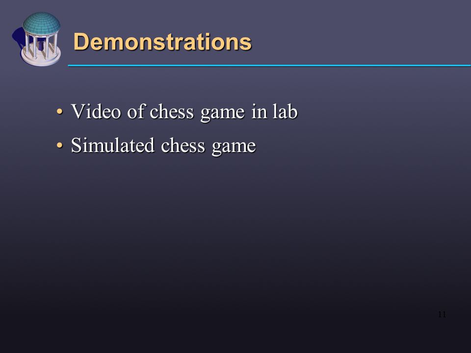 11 Demonstrations Video of chess game in labVideo of chess game in lab Simulated chess gameSimulated chess game