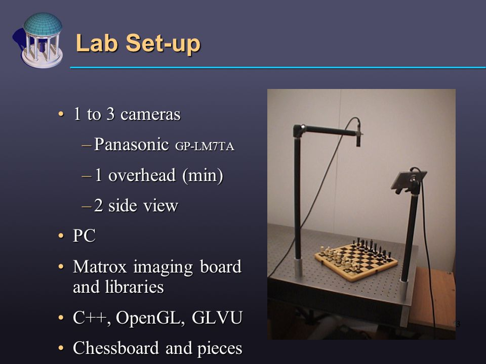 3 Lab Set-up 1 to 3 cameras1 to 3 cameras –Panasonic GP-LM7TA –1 overhead (min) –2 side view PCPC Matrox imaging board and librariesMatrox imaging board and libraries C++, OpenGL, GLVUC++, OpenGL, GLVU Chessboard and piecesChessboard and pieces