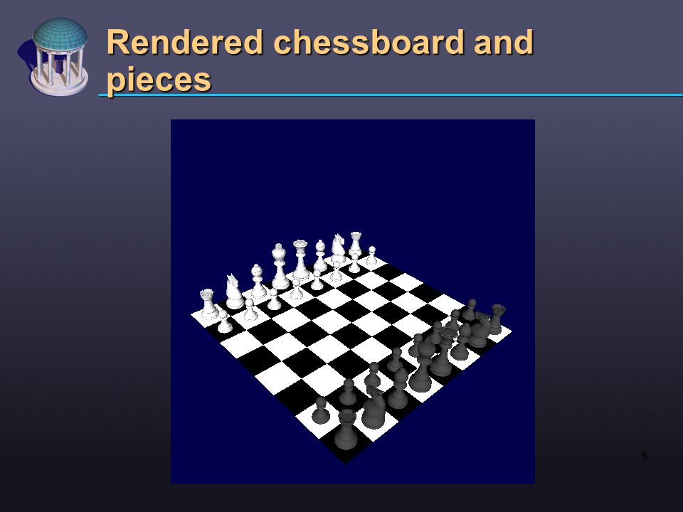 8 Rendered chessboard and pieces