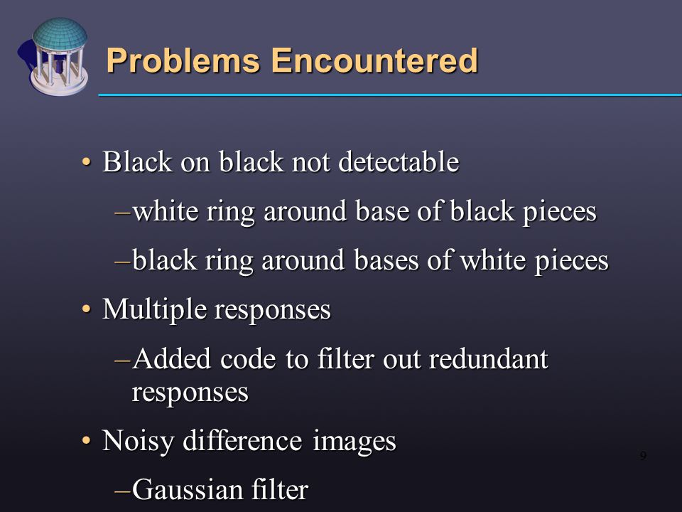 9 Problems Encountered Black on black not detectableBlack on black not detectable –white ring around base of black pieces –black ring around bases of white pieces Multiple responsesMultiple responses –Added code to filter out redundant responses Noisy difference imagesNoisy difference images –Gaussian filter