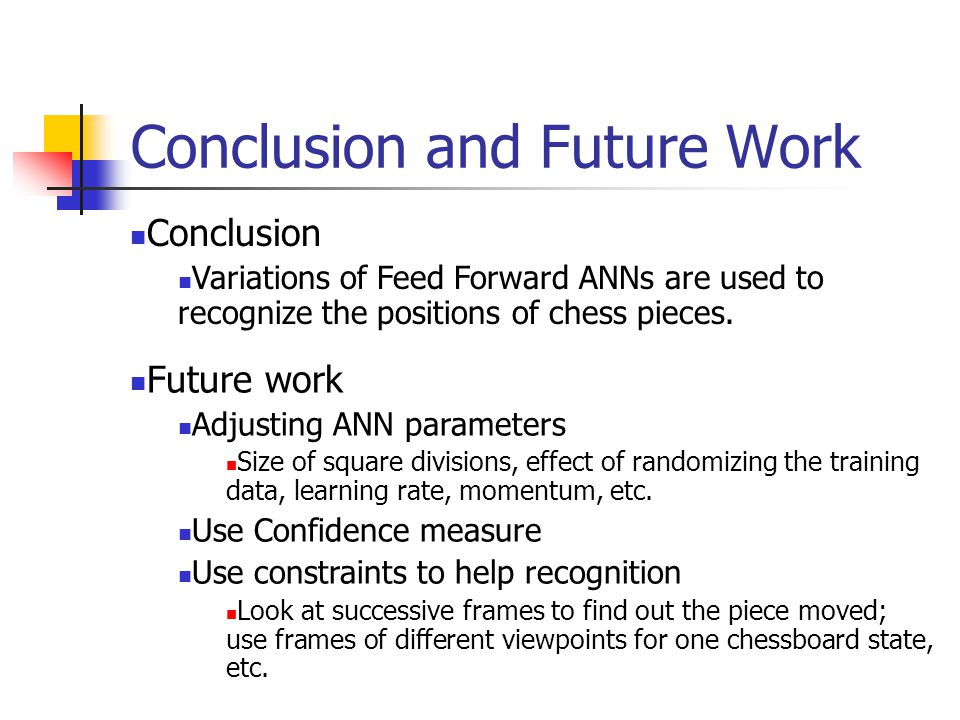 Conclusion and Future Work Conclusion Variations of Feed Forward ANNs are used to recognize the positions of chess pieces.