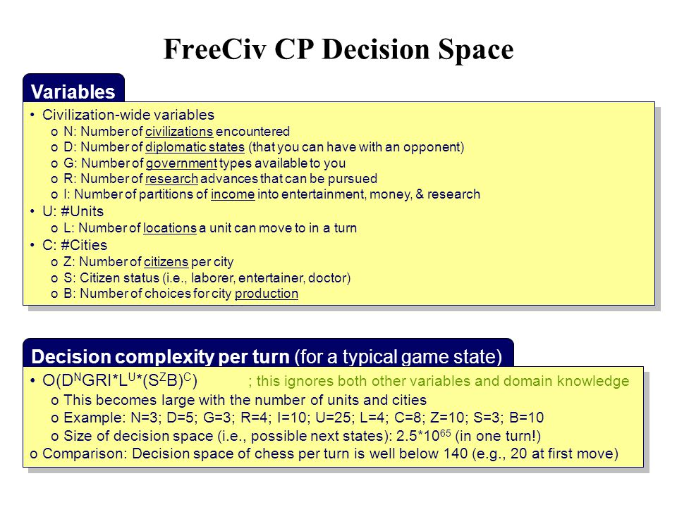 FreeCiv CP Decision Space Variables Civilization-wide variables oN: Number of civilizations encountered oD: Number of diplomatic states (that you can have with an opponent) oG: Number of government types available to you oR: Number of research advances that can be pursued oI: Number of partitions of income into entertainment, money, & research U: #Units oL: Number of locations a unit can move to in a turn C: #Cities oZ: Number of citizens per city oS: Citizen status (i.e., laborer, entertainer, doctor) oB: Number of choices for city production Civilization-wide variables oN: Number of civilizations encountered oD: Number of diplomatic states (that you can have with an opponent) oG: Number of government types available to you oR: Number of research advances that can be pursued oI: Number of partitions of income into entertainment, money, & research U: #Units oL: Number of locations a unit can move to in a turn C: #Cities oZ: Number of citizens per city oS: Citizen status (i.e., laborer, entertainer, doctor) oB: Number of choices for city production Decision complexity per turn (for a typical game state) O(D N GRI*L U *(S Z B) C ) ; this ignores both other variables and domain knowledge oThis becomes large with the number of units and cities oExample: N=3; D=5; G=3; R=4; I=10; U=25; L=4; C=8; Z=10; S=3; B=10 oSize of decision space (i.e., possible next states): 2.5*10 65 (in one turn!) oComparison: Decision space of chess per turn is well below 140 (e.g., 20 at first move) O(D N GRI*L U *(S Z B) C ) ; this ignores both other variables and domain knowledge oThis becomes large with the number of units and cities oExample: N=3; D=5; G=3; R=4; I=10; U=25; L=4; C=8; Z=10; S=3; B=10 oSize of decision space (i.e., possible next states): 2.5*10 65 (in one turn!) oComparison: Decision space of chess per turn is well below 140 (e.g., 20 at first move)