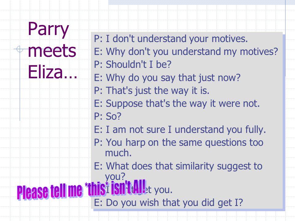 Parry meets Eliza… P: I don t understand your motives.