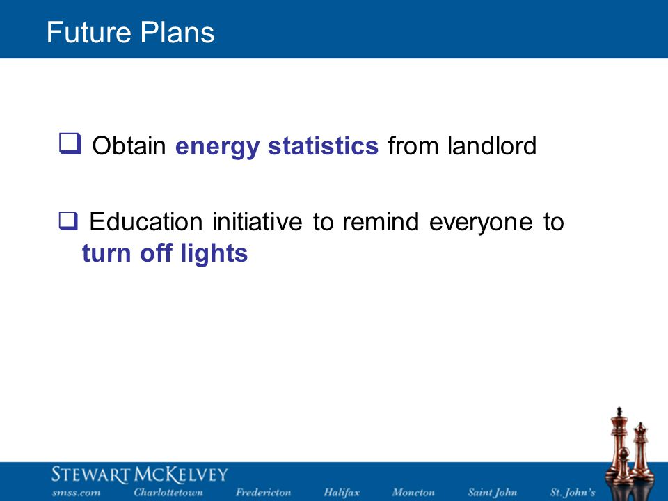 Future Plans  Obtain energy statistics from landlord  Education initiative to remind everyone to turn off lights
