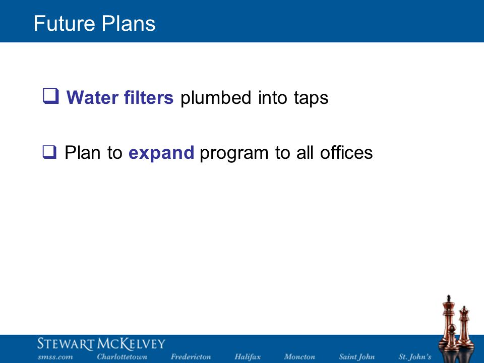 Future Plans  Water filters plumbed into taps  Plan to expand program to all offices
