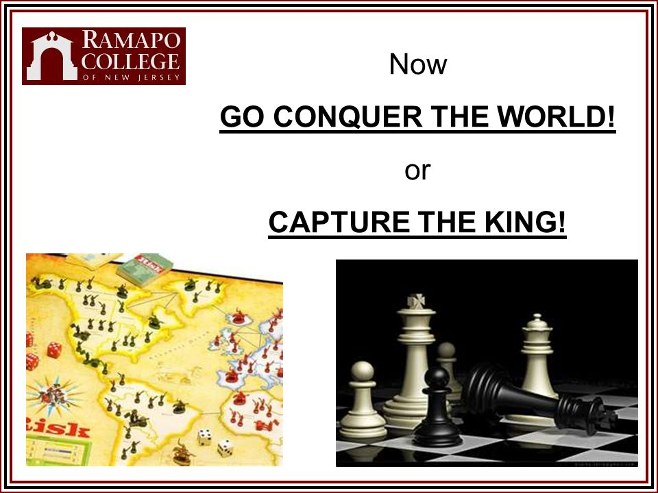 Now GO CONQUER THE WORLD! or CAPTURE THE KING!
