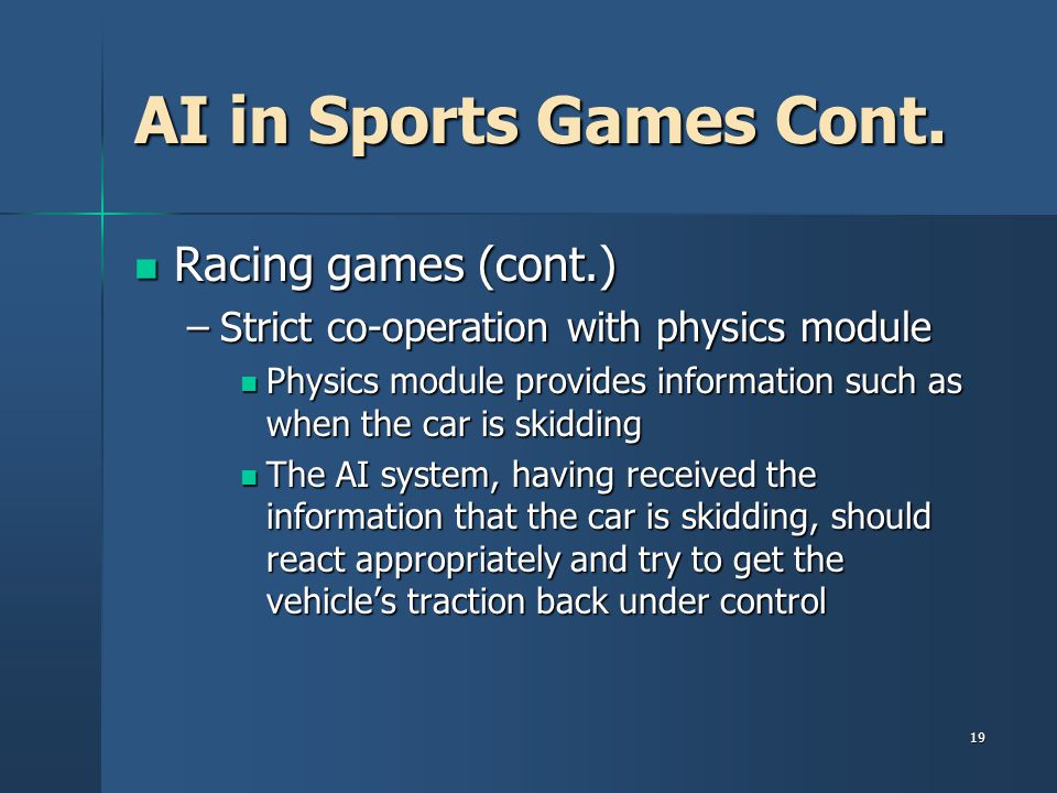 19 AI in Sports Games Cont.