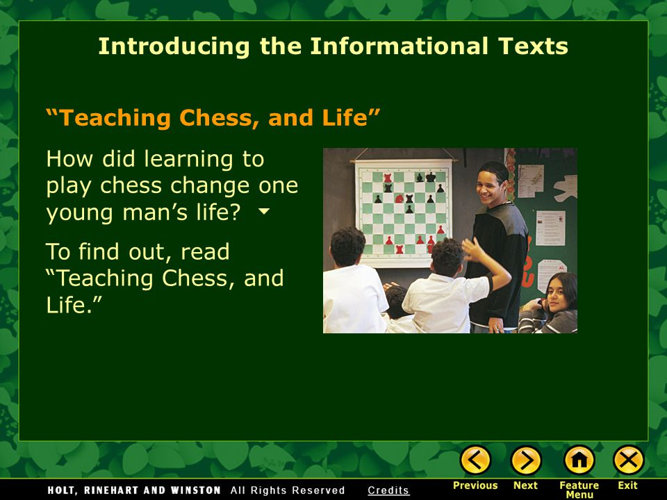 Teaching Chess, and Life Introducing the Informational Texts Community Service & You Feeding Frenzy