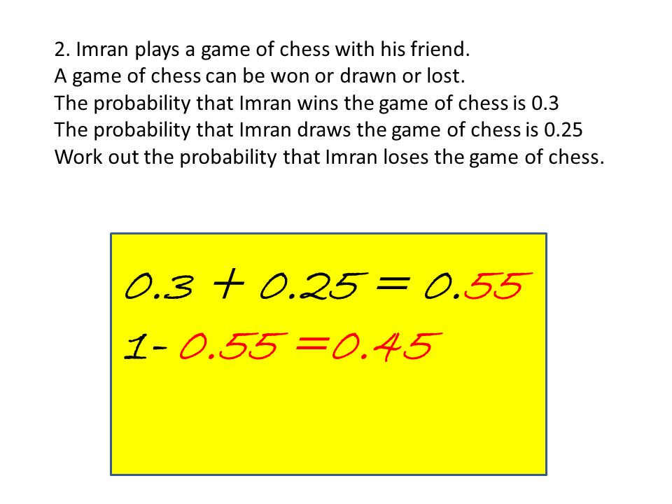 2. Imran plays a game of chess with his friend. A game of chess can be won or drawn or lost. The probability that Imran wins the game of chess is 0.3